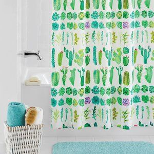 Watercolor Cacti/Succulent/Plants Shower Curtain